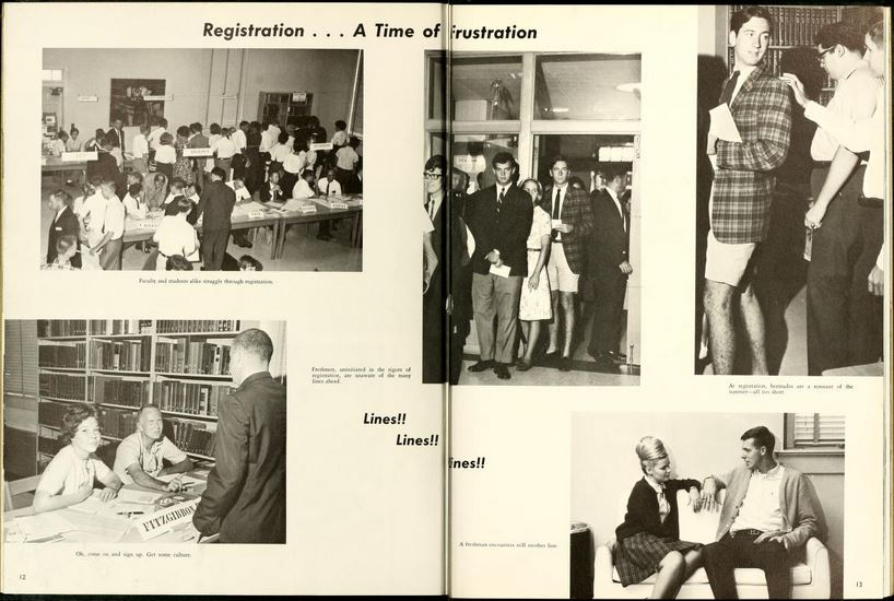 Registration frustration from UNC-Wilmington's 1966 Fledgling yearbook