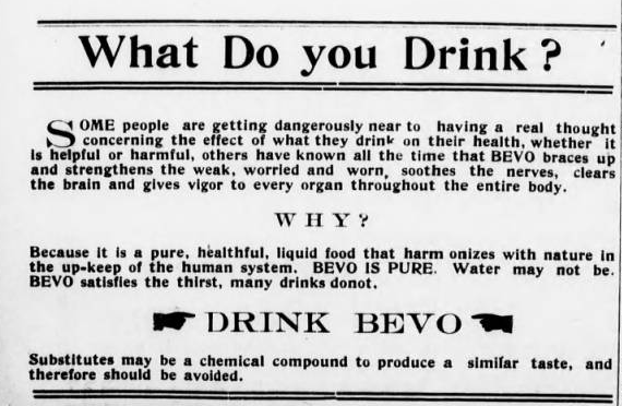 Bevo Advertisement, Roanoke News 1919-09-04