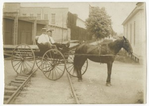 Postcard of a buggy on the railroad tracks in Albemarle, N.C. circa 1905.