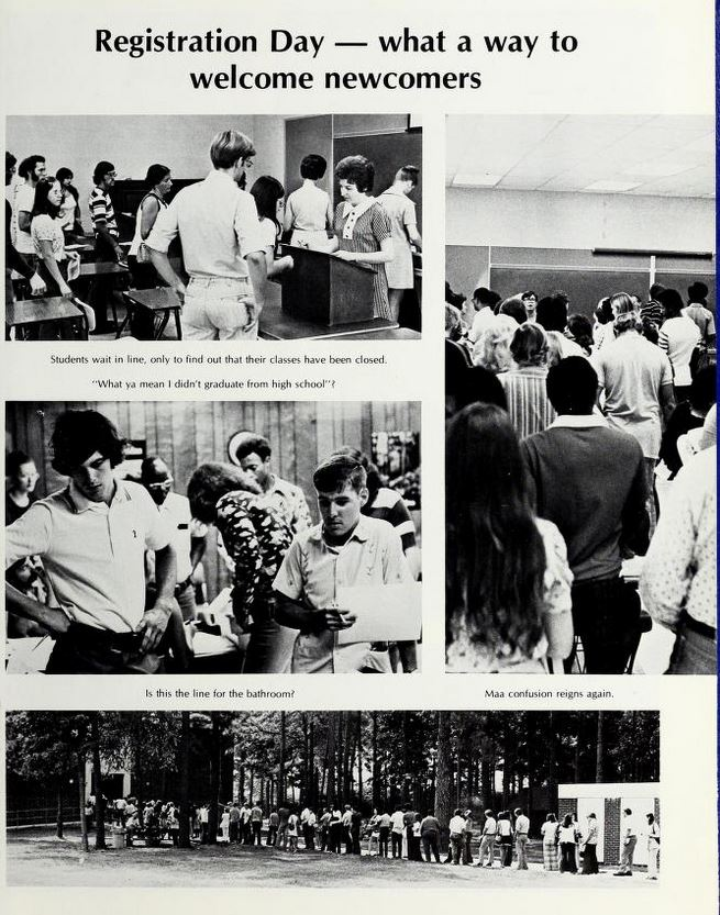 Registration day was a feature in community colleges as well.  This is from Wayne Community College's 1974 yearbook, Insights.