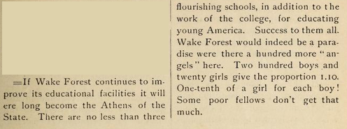 Wake Forest Student excerpt, October 1887 p. 39