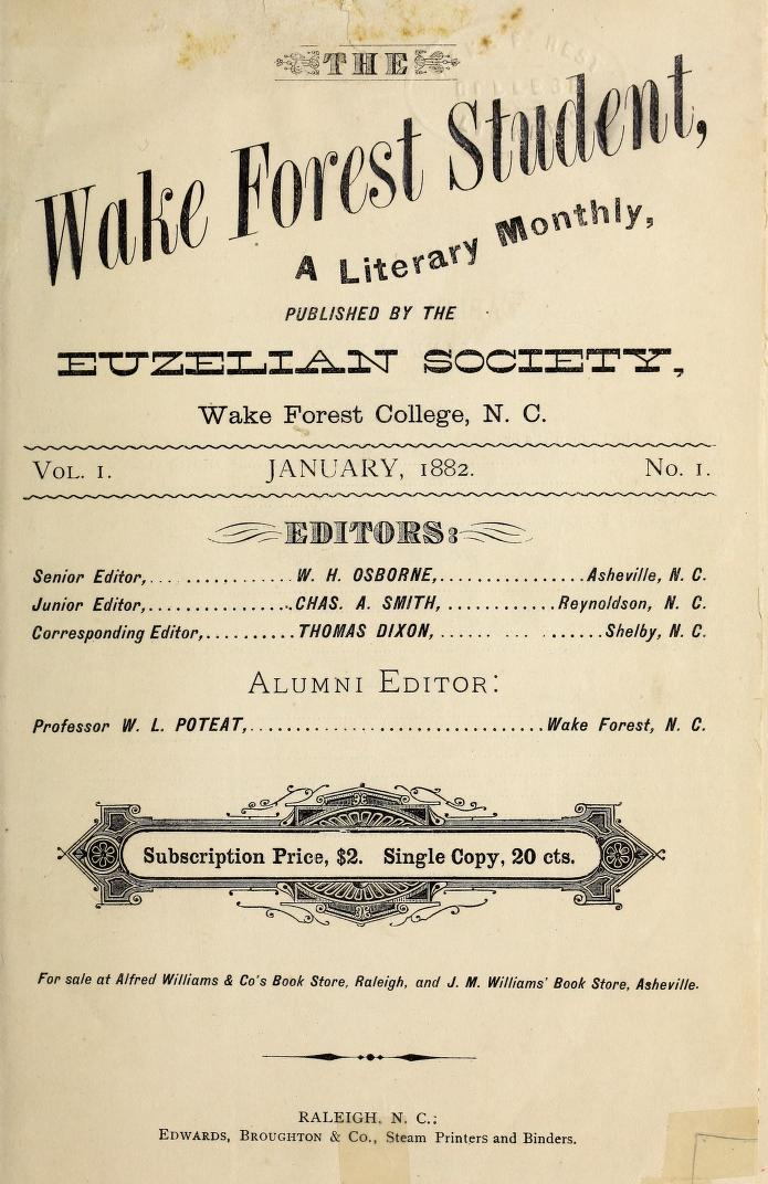Wake Forest Student title page 1882