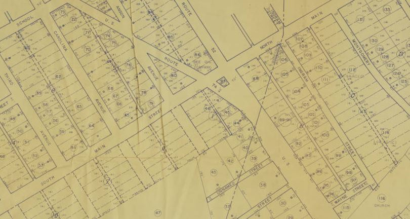 Detail from a 1961 map of downtown Wadesboro, N.C.