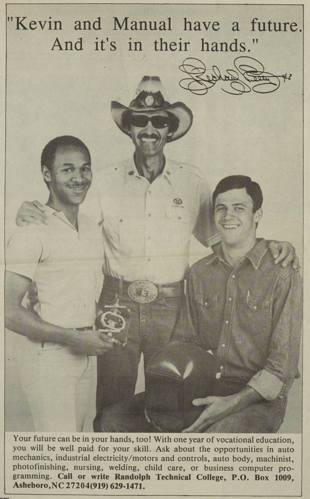 Randolph Community College Ad with Richard Petty, 1986