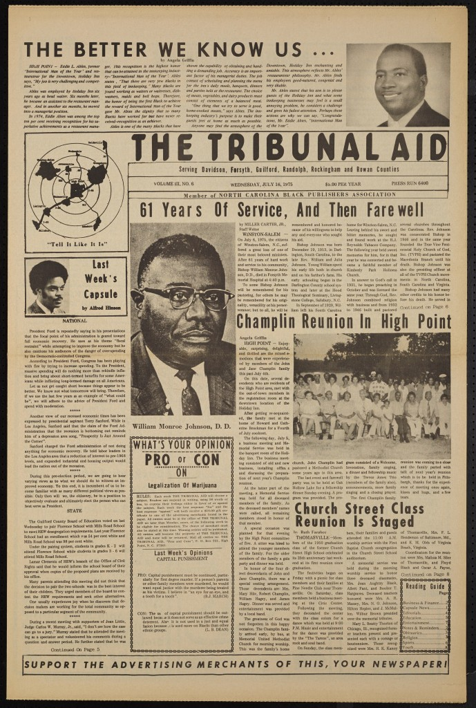 The Tribunal Aid Newspaper, New Addition to DigitalNC