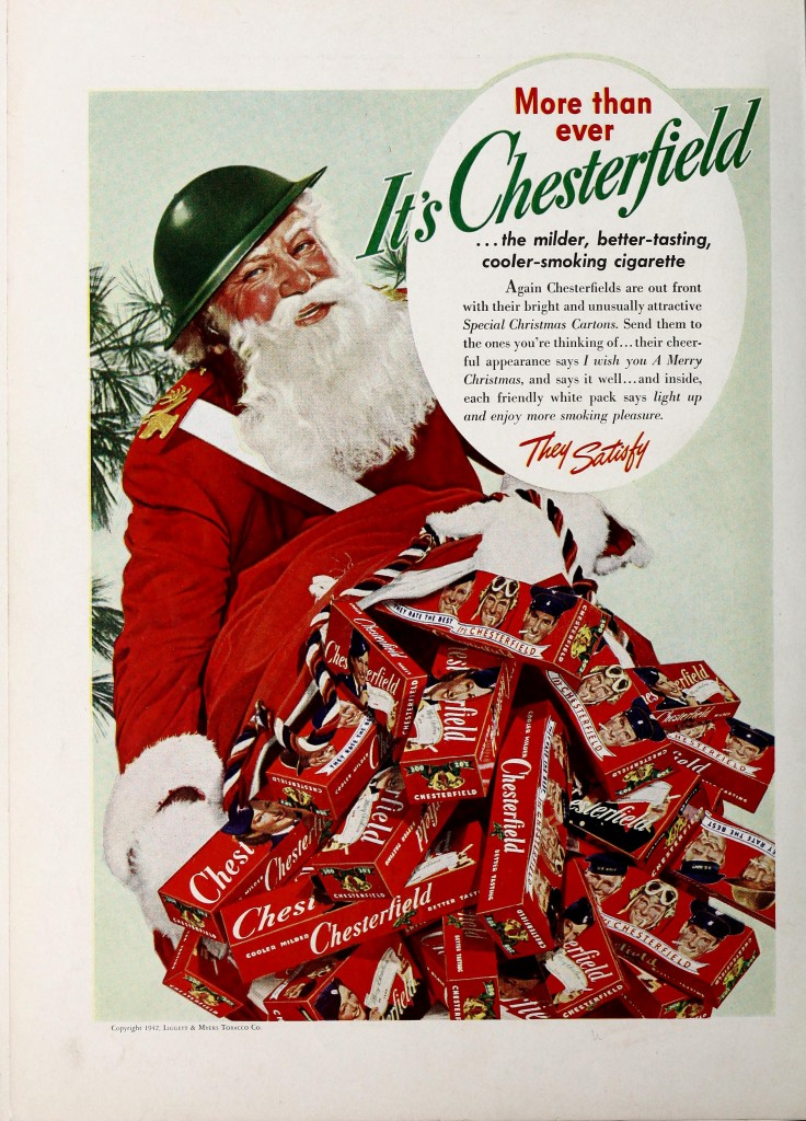 "1942: War Santa urges you to ""Send them to the ones you're thinking of...their cheerful appearance says I wish you A Merry Christimas, and says it well..."""