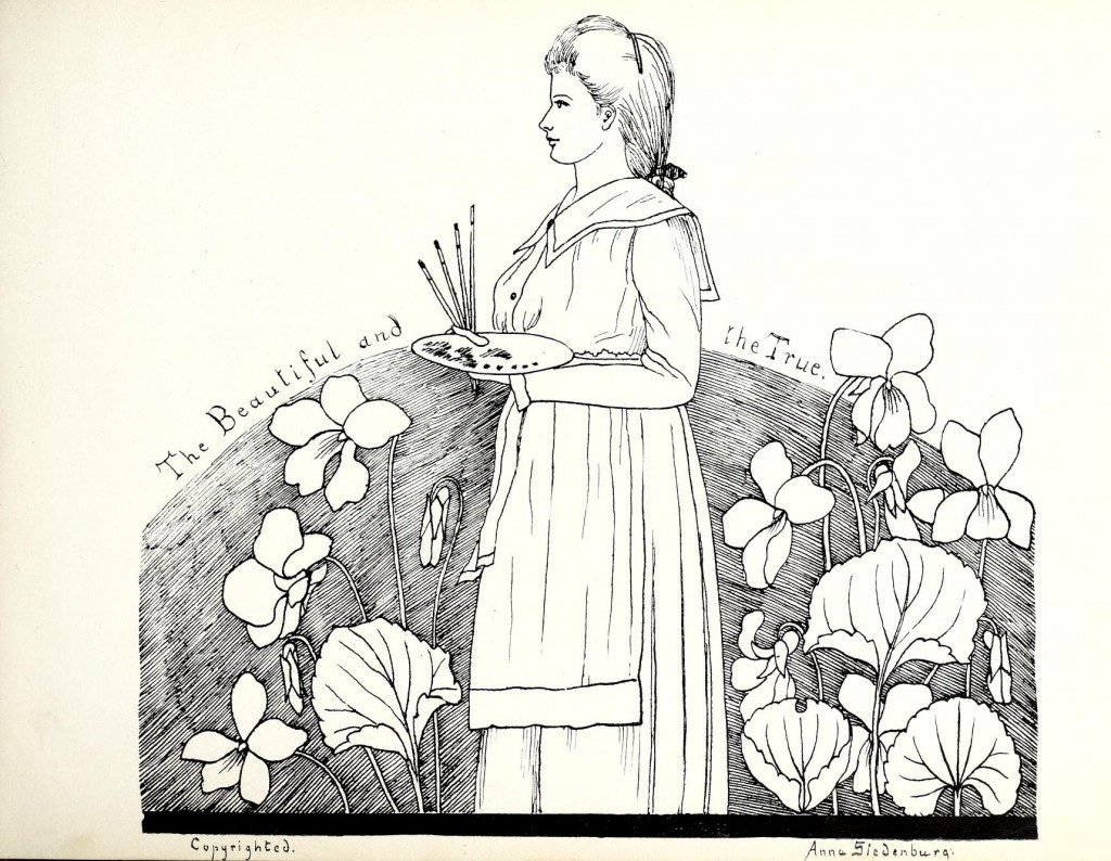 Illustration by Anna Siedenburg from Elizabeth College's Caps and Belles yearbook, 1901