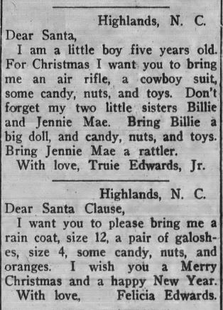 Letters to Santa from The Franklin Press, December 21, 1933.
