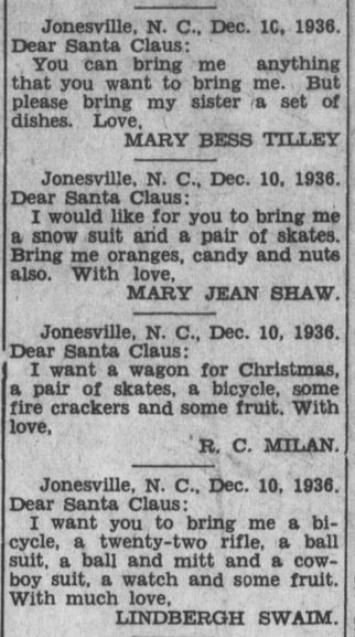 Letters to Santa from The Elkin Tribune, December 24, 1936