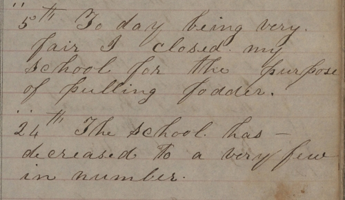 Stanly County Common School Register Excerpt