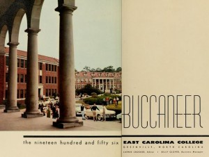 Title page from the 1956 Buccaneer, from East Carolina College, the most popular item on DigitalNC.org in 2014.