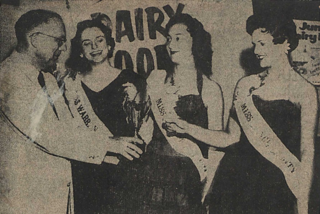 Dairy Princesses for Warren, Granville, and Vance counties are crowned in 1956.