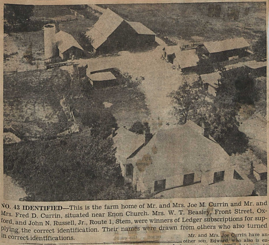 Photograph accompanying an article on Mystery Farm No. 43, which belonged to the Currin family.