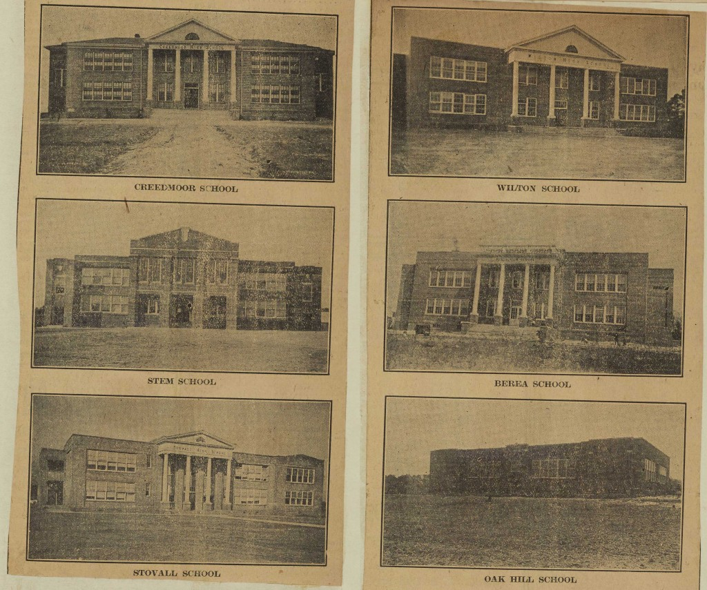 Photographs from 1925 of the newly built Creedmoor School, Stem School, Stovall School, Wilton School, Berea School, and Oak Hill School in Granville County.