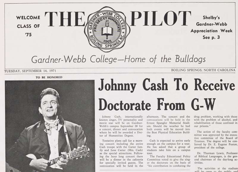 Front Page of The Pilot, Gardner-Webb College newspaper, September 14, 1971