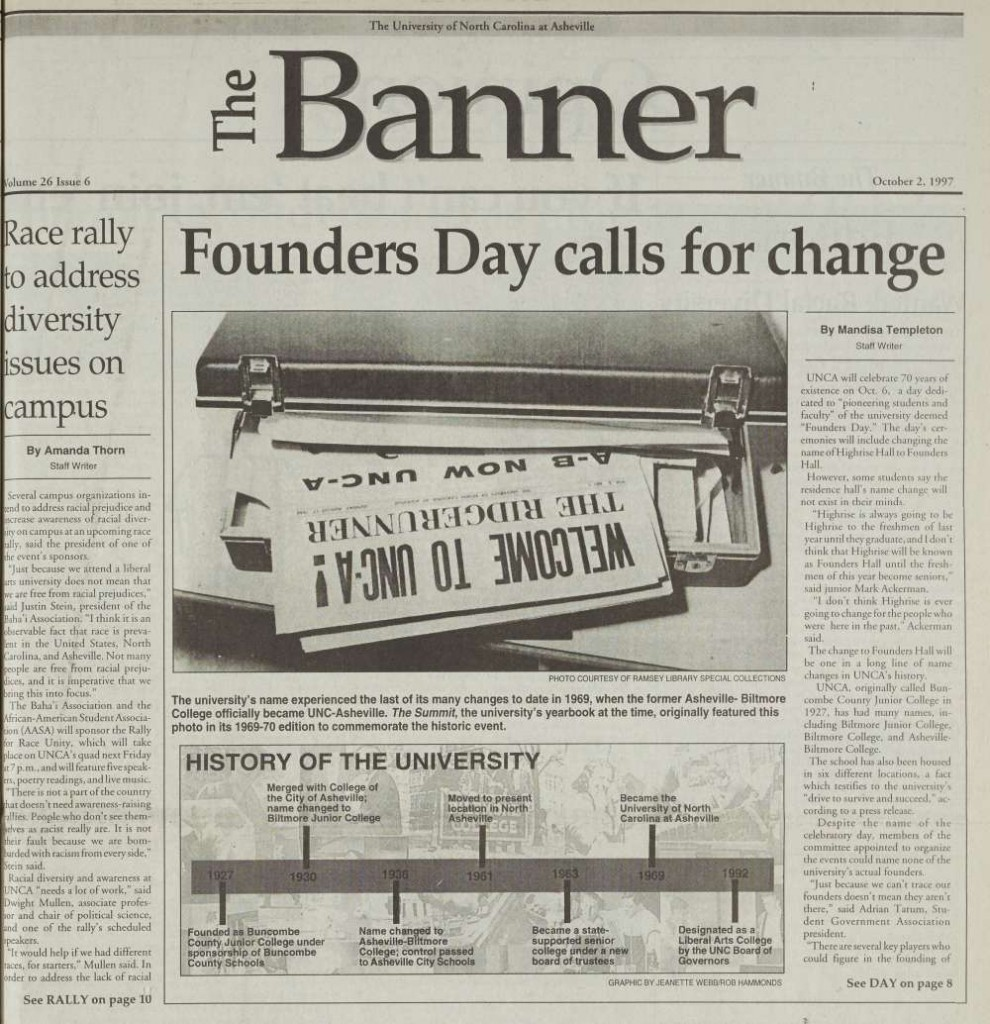 UNC Asheville Student Newspaper October 2, 1997 Issue