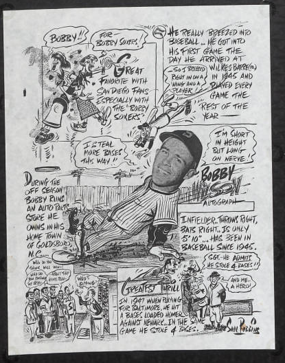 Cartoons depicting Bobby Wilson's base running abilities