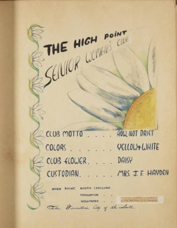 High Point Women's Club Scrapbooks and Yearbooks Now Online
