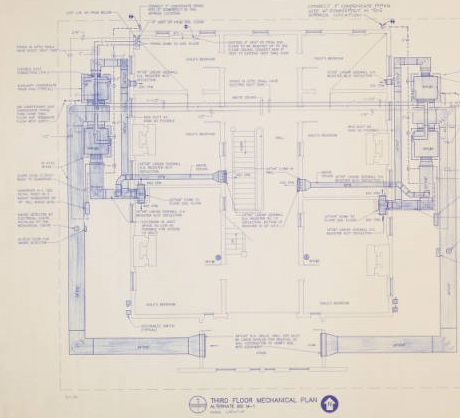 Third Floor Mechanical Plan of Bellamy Mansion