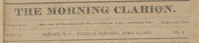 Front page of an 1876 copy of the Morning Clarion
