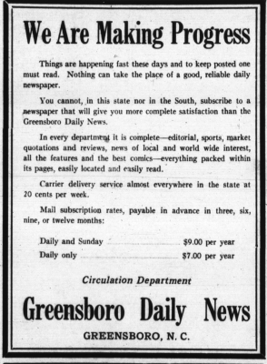 Greensboro Daily News Ad, March 2, 1934