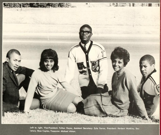 Sophomore class officers at North Carolina Central University, 1963.