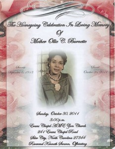 The Homegoing Celebration in Loving Memory of Mother Ollie C. Burnette