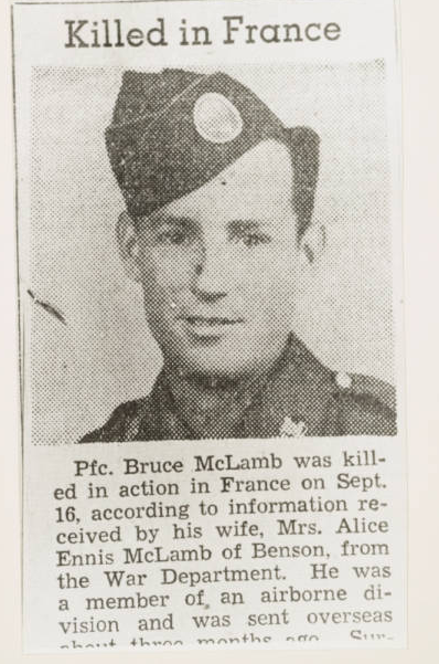 Bruce McLamb, Killed in France