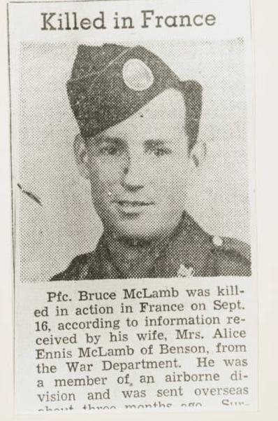 Bruce McLamb, Killed in France
