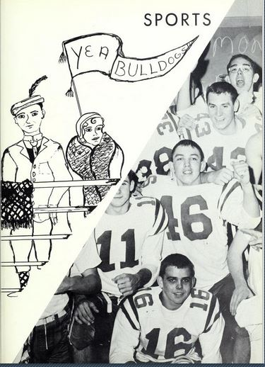 """Sports page from the 1960 Cross Roads yearbook, """"Then and Now"""""""