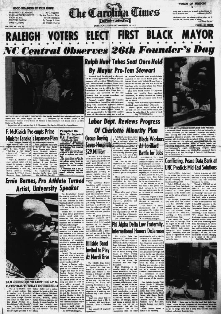 November 10, 1973 issue of The Carolina Times