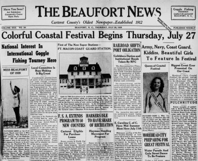 This front page of the July 20, 1939 issue of The Beaufort News announces the first annual Coastal Festival.