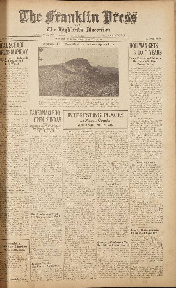 August 27, 1936 issue of The Franklin Press and Highlands Maconian, page 1