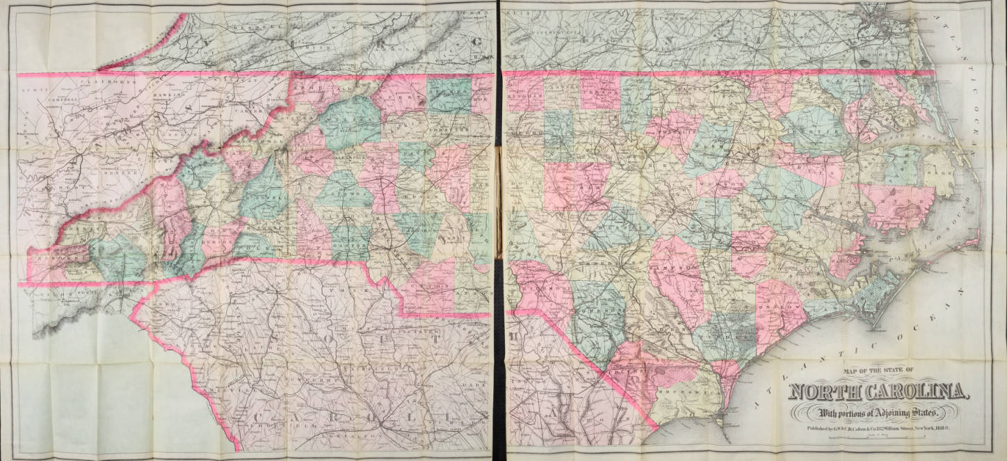 Colton's Map of the State of North Carolina, 1888.