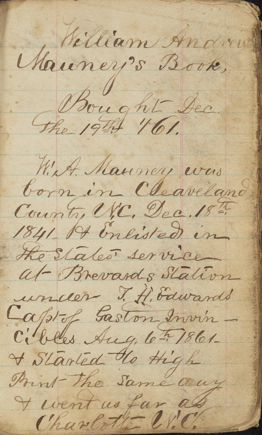 Civil War Diary of William Andrew Mauney.