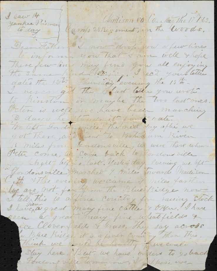 William Andrew Mauney's letter to his father during the Civil War.
