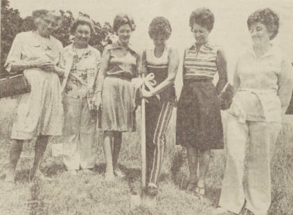 Members of the Woman's Club in High Point, NC hold a groundbreaking for their new building.