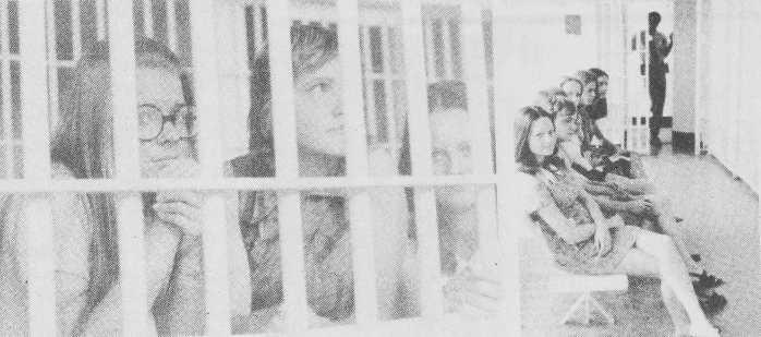 """Nine Students Jailed,"" an article from February 21, 1974 reads. The students were ""enacting a social deviance experiment"" in order to test ""the effectiveness of violence on the college administration."""