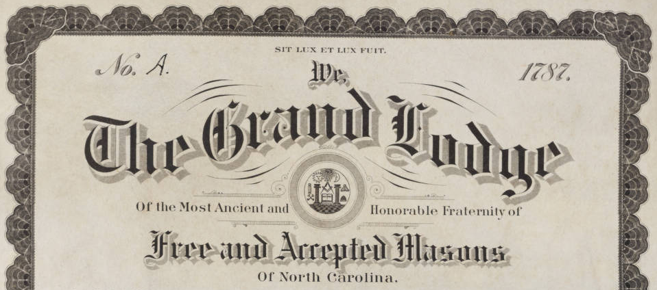 The header of the Grand Lodge Certificate establishing Army Lodge A