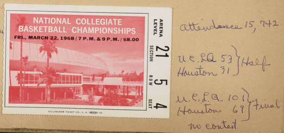 Ticket to 1968 National Collegiate Basketball Championships, from Parker Scrapbook.