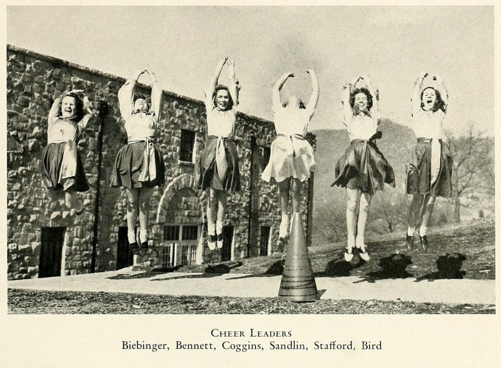 Cheerleaders, From Western Carolina University's 1940 edition of the Catamount yearbook.