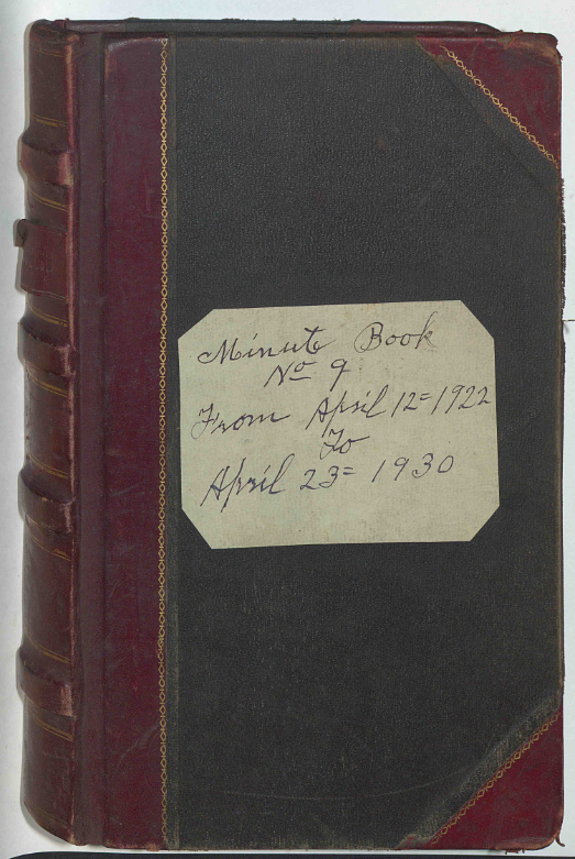 2Minute Book No. 9 of Saint John's Lodge, 1922-1930