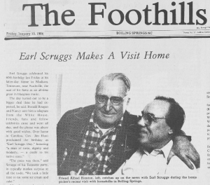 News about Earl Scruggs, a Boiling Springs native, visiting home in 1984