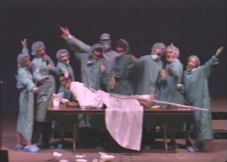 "Scene from ""The Sound of Mucus,"" performed by Duke Medical School students in 1989."