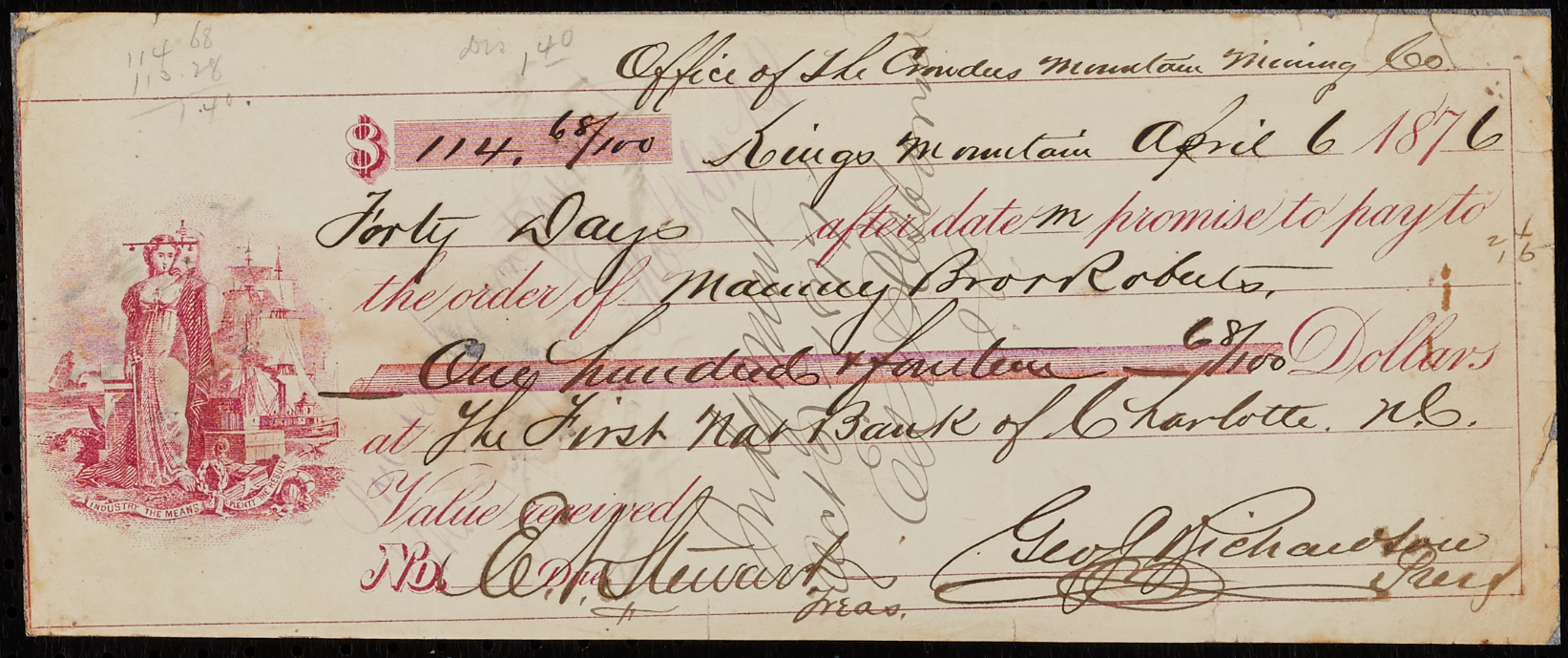 Crowders Mountain Mining Co. Invoice