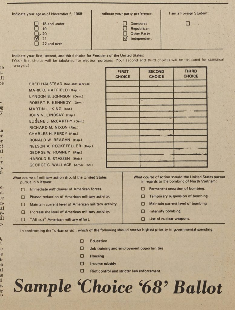 Sample Choice 68 Ballot, printed in Asheville-Biltmore College (now UNCA) newspaper The Ridgerunner, March 1, 1968.