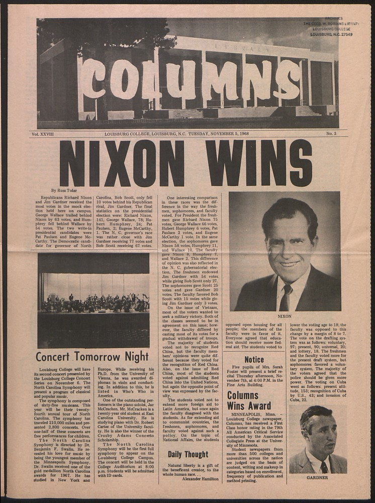 November 5, 1968 issue of the Louisburg College Columns student newspaper.