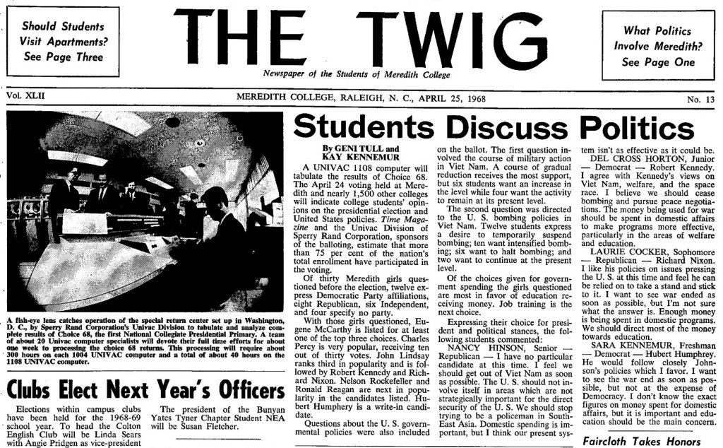 Headline from the April 25, 1968 issue of The Twig, Meredith College.