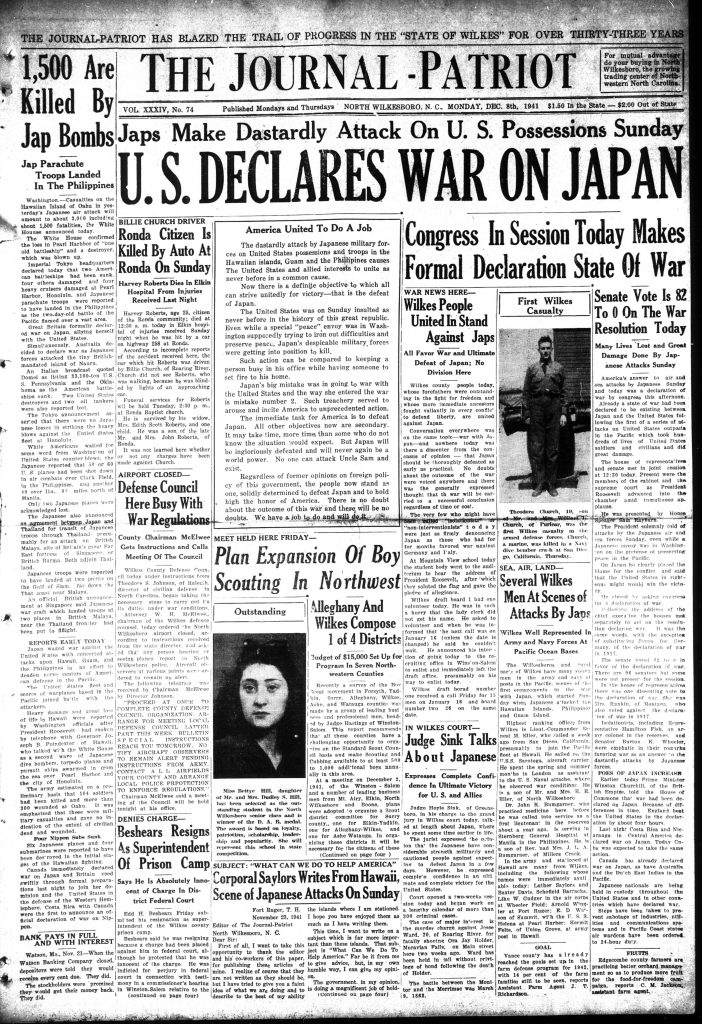 September 8, 1941 issue of the Wilkes Journal-Patriot newspaper.