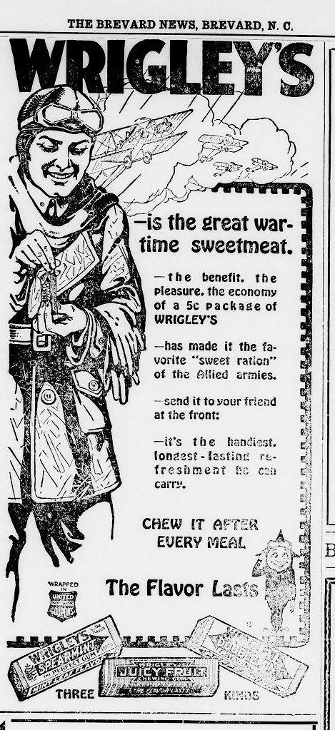 Wrigley's Ad 1918 Brevard News
